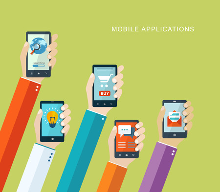 Illustration pour Mobile applications concept. Hand with phones flat illustration.   - image libre de droit