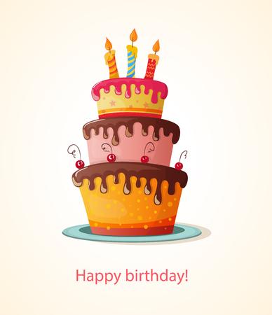 Vektor für birthday card with cake. eps10 - Lizenzfreies Bild
