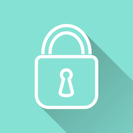 Lock  icon with long shadow, flat design. Vector illustration.
