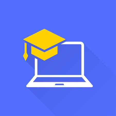 Ilustración de E-learning education icon. Academic study, learn symbol. Illustration with long shadow for graphic and web design. - Imagen libre de derechos
