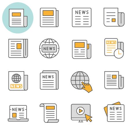 Illustration pour News flat line icons. Set of media, document, information, publication and more. Editable Stroke. - image libre de droit
