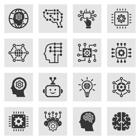 Illustration pour Artificial intelligence icons. Set of brain, robot, ai, head, innovation and more. - image libre de droit