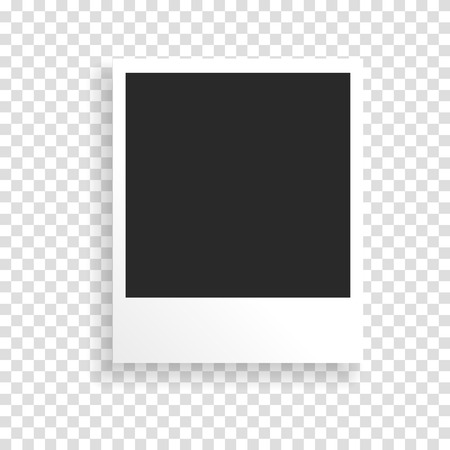 Illustration for Photo frame on a transparent background with a realistic paper texture and shadow. Can be used to design photo albums, promo, advertising, etc. - Royalty Free Image