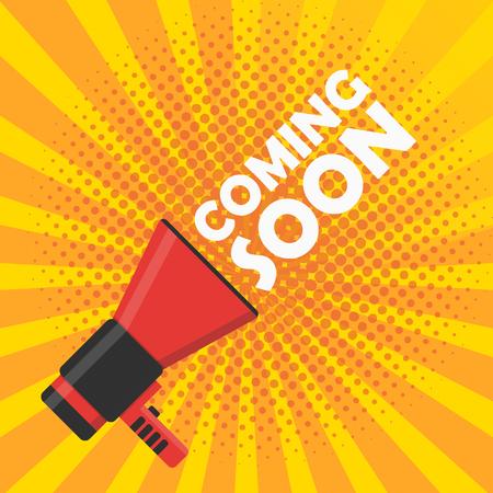 Illustration pour Coming soon vector illustration banner. Announcement megaphone - image libre de droit