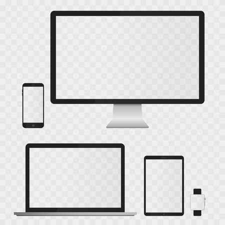 Illustration pour Electronic Devices Screens isolated on white background. Desktop computer, laptop, tablet and mobile phones with transparency. - image libre de droit