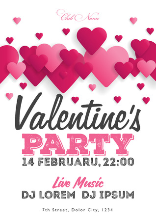 Illustration for Valentine's Day party invitation flyer. The template for the club, musical evenings. Speech by musicians, DJs. Night festive party. Background with hearts. Vector illustrations. - Royalty Free Image