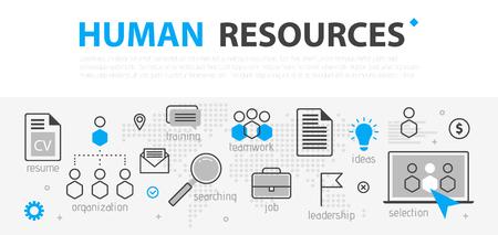 Illustration pour Human resources web banner concept. Outline line business icon set. HR Strategy team, teamwork and corporate organization. Vector illustration Template for sites, presentation - image libre de droit
