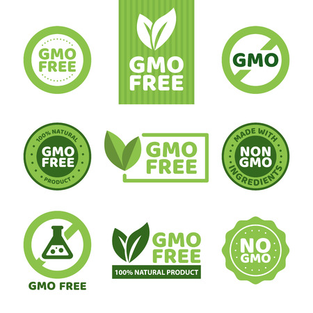 Illustration for Vector illustration of different green colored GMO free emblems. - Royalty Free Image
