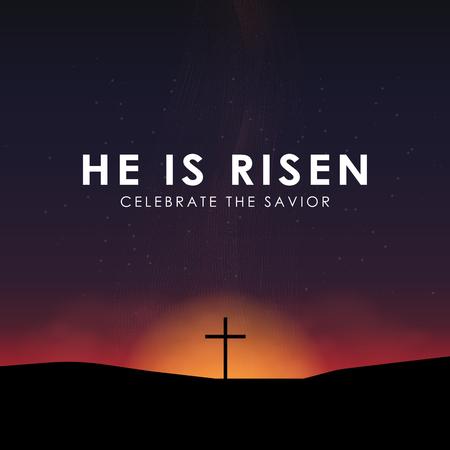 Christian Easter scene, Savior cross on dramatic sunrise scene, with text He is risen, vector illustration.