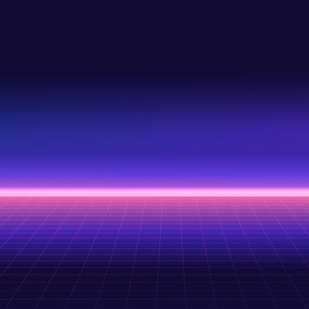 Ilustración de Abstract retro background, 80s style. Futuristic digital landscape, neon party flyer. Vector illustration. - Imagen libre de derechos