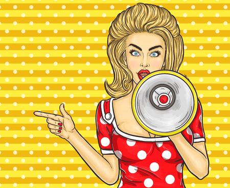 Illustration pour Vector illustration pop art girl with megaphone announce discounts and sales - image libre de droit