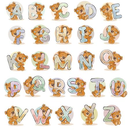 Illustration pour Set vector letters of the English alphabet with funny teddy bear - image libre de droit
