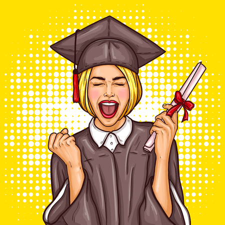 Illustration pour Vector pop art illustration of an excited young girl graduate student in a graduation cap and mantle with a university diploma in her hand. The concept of celebrating the graduation ceremony - image libre de droit