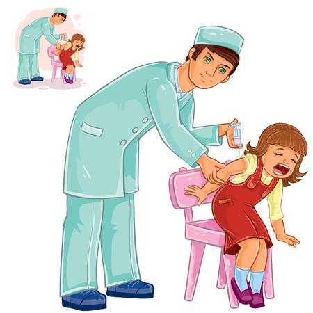Vector illustration of a nurse doing an inoculation to a small girl, vaccination against flue, pox, tetanus, hepatitis, polymelitis. Print