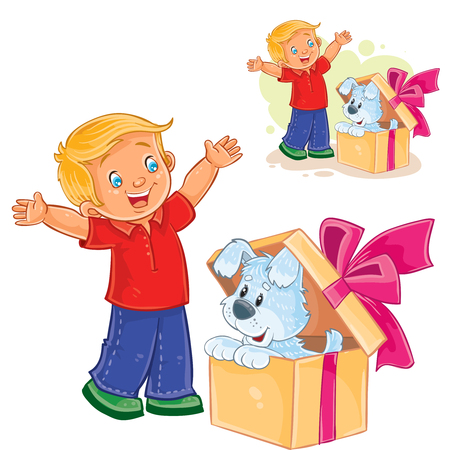 Vector illustration of a little boy opened a gift box and saw a puppy sitting there.