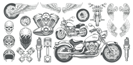 Illustration pour Set of illustrations, icons of hand-drawn vintage motorcycle in various angles, skulls, wings in the style of engraving. Classic chopper in ink style. Print, engraving, template, design element - image libre de droit