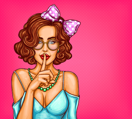 Illustration pour Vector pop art illustration of a sexy girl holding her finger on her lips and asking for silence, quiet, do not tell anyone. Excellent advertising poster for advertising discounts and sales - image libre de droit