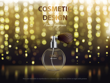 Cosmetic background with round glass spray bottle with perfume. Vector realistic design for package, banner for promote luxury fragrance for perfect look.