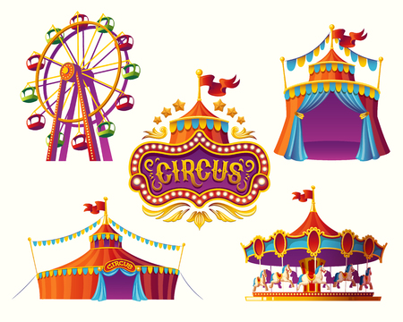 Illustration pour Set of vector illustrations of carnival circus icons with tent, carousels, flags isolated on white background.Print, design element. - image libre de droit