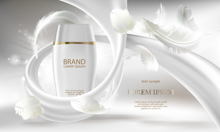 Illustration pour Cosmetic banner with 3d vector realistic white bottle for skin care cream or body lotion, ready mock up for promotion your brand. Beauty product concept illustration with creamy swirl and feathers. - image libre de droit