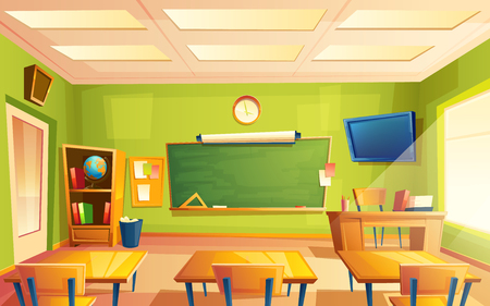 Photo for Vector school classroom interior. University, educational concept, blackboard, table, chair college furniture. Training room illustration for advertising, web, internet promotion - Royalty Free Image