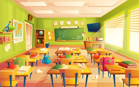 Illustration pour Vector classroom interior. Educational concept, mathematics room, blackboard, desks, school supplies. Training room illustration for advertising, web, internet promotion - image libre de droit