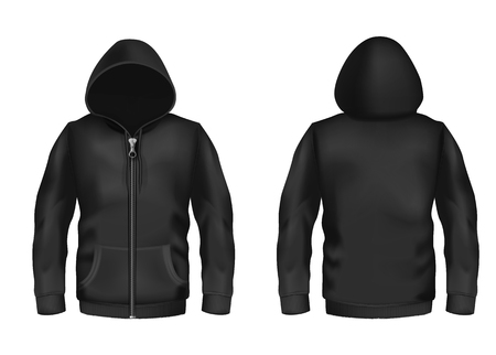 Ilustración de Vector realistic black hoodie with zipper, with long sleeves and pockets, casual unisex model, sportswear, sweatshirt with hood isolated on background. Mockup for clothes design, front and rear view - Imagen libre de derechos