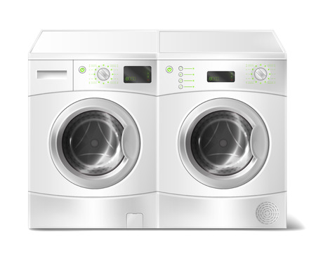 Illustration pour Vector realistic illustration of white front-load washer and dryer, empty inside, with close door isolated on background. Modern household appliance for washing dirty laundry and drying clothes - image libre de droit