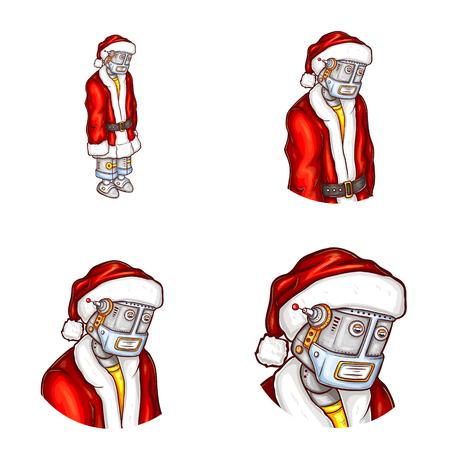 Vector pop art robot in Santa Claus costume.