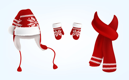 Illustration for Vector realistic illustration of knitted santa hat with earflaps, red mittens and scarf with decorative pattern on them, isolated on background. Christmas traditional clothes for head, hands and neck - Royalty Free Image