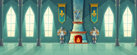 Illustration pour Vector castle hall, interior of royal ballroom with fireplace, knight armor, flags for dancing. Big room with columns, pillars in luxury medieval palace. Fantasy, fairy tale or game background - image libre de droit