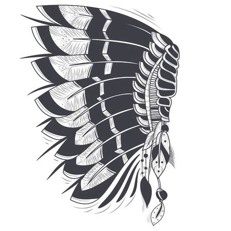 Illustration for illustration of war bonnet, native traditional headdress of american indians with eagle feathers, isolated on background. Hand drawn black and white artwork, tattoo art, print for t-shirt - Royalty Free Image