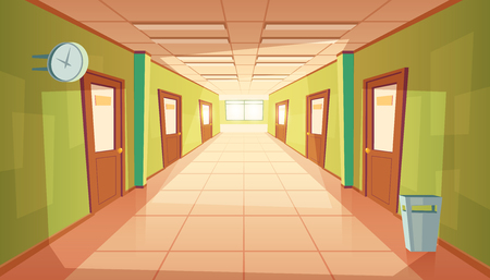 Illustration pour Vector cartoon school hallway with window and many doors. College corridor with rubbish bin and no people. Interior of university, education concept. - image libre de droit