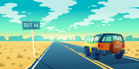 Illustration for Vector cartoon landscape of barren desert with long highway. Car rides along asphalt road to canyon. Route 66, roadway with pointer, skyline with sandy wasteland. Travel concept background - Royalty Free Image