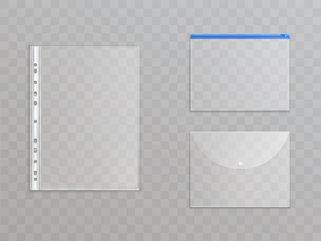Illustration pour Vector transparent plastic files - set of office supplies. Cellophane folders with zipper, button to protect documents. Translucent stationery collection isolated on background. - image libre de droit