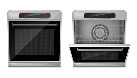 Foto de 3d realistic compact oven with touch menu, with pre-set cooking programs, with open and close door, front view isolated on background. Built-in household appliance, modern multifunction stove - Imagen libre de derechos