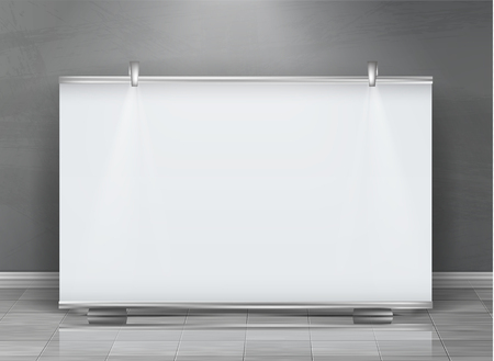 Illustration pour Vector realistic roll up banner, horizontal stand, blank billboard for exhibition and business presentations, isolated on gray background. Mockup with white board, roll-up display for commercial ads - image libre de droit