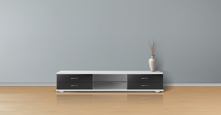 Illustration for Vector realistic mockup of empty room with flat gray wall, wooden floor, tv stand with black drawers and vase. Studio with minimalistic interior. Template for your creative design and presentations - Royalty Free Image