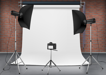 Illustration pour Vector realistic illustration of empty room with blank white screen, studio lights with soft boxes on tripod stands. Concept background with modern lighting equipment for professional photography - image libre de droit