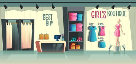 Ilustración de Vector girls boutique. Female clothing shop interior - wardrobe with clothes, cartoon mannequin in dress and stuff on hangers. Cashbox with table, fashion store with illumination in a mall. - Imagen libre de derechos