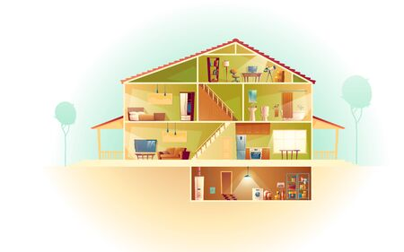 Illustration pour Vector house interior in cross section with basement and garret, cartoon multistorey private building. Attic, furniture in living room, TV. Laundry and storage in cellar. Architecture background. - image libre de droit