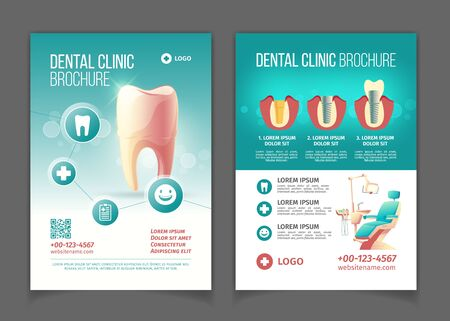 Illustration pour Dental clinic advertising brochure, poster cartoon vector pages template. Comfortable stomatology chair with lamp, healthy tooth, modern dental implants and crowns technology infographics illustration - image libre de droit