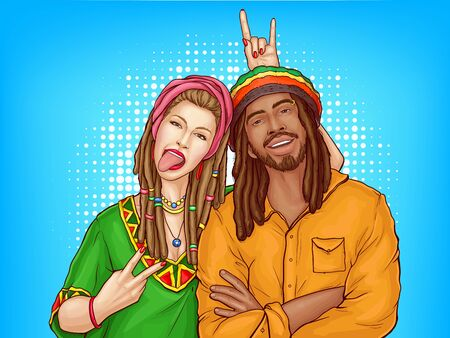 Illustration pour Vector pop art characters - a couple of smiling rasta guy with dreadlocks and woman in the green shirt. Man in orange jacket with sexy girl isolated on blue dotted background. Cute young people. - image libre de droit