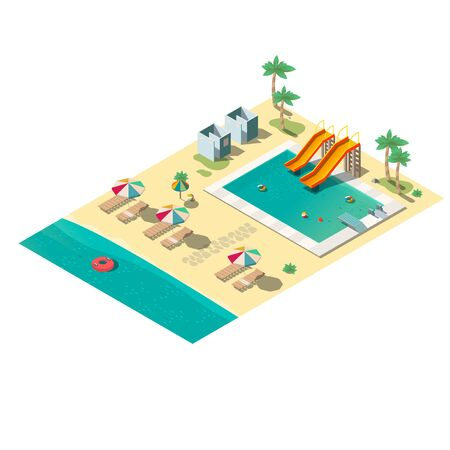 Outdoor Natural Gas Fire Pit Table, Tropical Resort Beach With Swimming Pool Lounge Chairs Dressing Cabins And Inflatable Rings In Water Isometric Vector Isolated On White Background Leisure And Recreation Infrastructure Illustration Royalty Free Vector Graphics