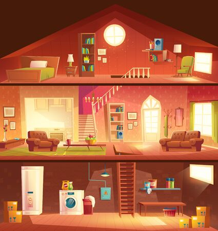 Illustration pour Tree-storey house or cottage cross section building cartoon vector interiors set with laundry in basement, comfortable, sunny living room or hall, studio kitchen, cozy bedroom on attic illustration - image libre de droit