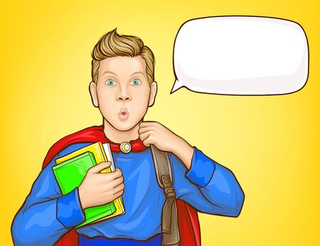 Illustration for Surprised schoolboy, student in super hero suit, with backpack over shoulder, holding books, looking with amazement popart vector illustration. School supplies sale, educational course poster template - Royalty Free Image