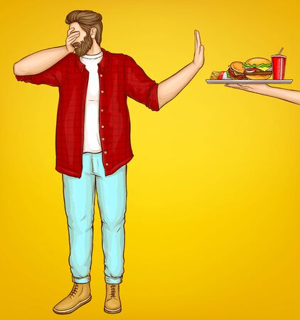 Illustration for Diet and weight loss control cartoon vector concept. Overweight man dont wont look, turning away, showing stop hand sign for reached tray with high-calorie meals, refusing from fast food illustration - Royalty Free Image