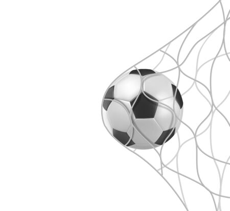 Illustration pour Soccer or football ball in goal net isolated on white background, sports accessory, equipment for playing game, championship or competition, design element. Realistic 3d vector illustration, clip art - image libre de droit