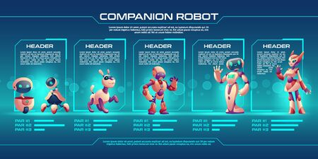 Illustration pour Companion robot evolution timeline infographics, Robotics progress stages from small droid to humanised cyborg. Game character unit design, level up upgrade guide with development steps Cartoon vector - image libre de droit