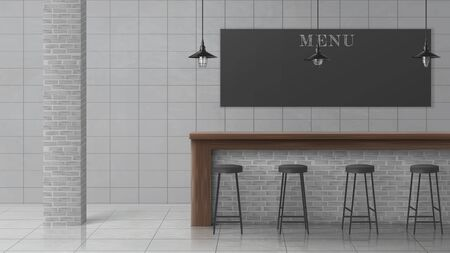 Illustration pour Bar, cafe, coffee shop or pub minimalistic, loft interior with stools standing in row near wooden counter desk, hanging vintage lamps, brick column, chalkboard menu, tilled wall and floor illustration - image libre de droit